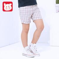 小猪班纳童装2017夏装新款儿童纯棉裤子休闲裤 中大童男童短裤