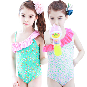 【泳衣建议对照体重拍大一点哦】KK树新款中大童连体泳衣夏季儿童防晒游泳衣女孩宝宝可爱泳装速干