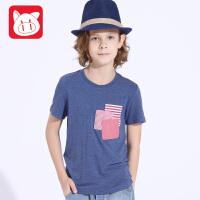 小猪班纳童装儿童体恤男中大童休闲上衣2017夏季新款男童短袖T恤