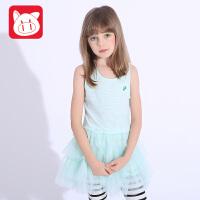 小猪班纳童装女童无袖连衣裙2017夏装新款儿童背心裙女中大童裙子