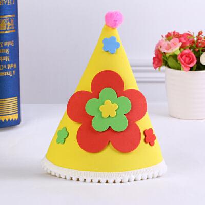 孩派 幼儿童宝宝生日派对用品 动物稚形生日帽 eva稚形帽子_黄色花朵