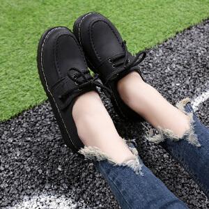 妃枫霏春季时尚女鞋厚底系带复古简约休闲鞋内增高单鞋