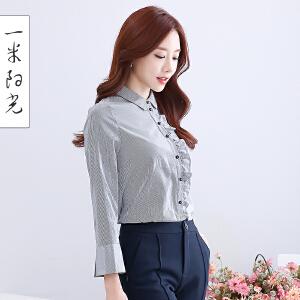 一米阳光2017春款韩版喇叭袖休闲衬衣荷叶边职业衬衫女