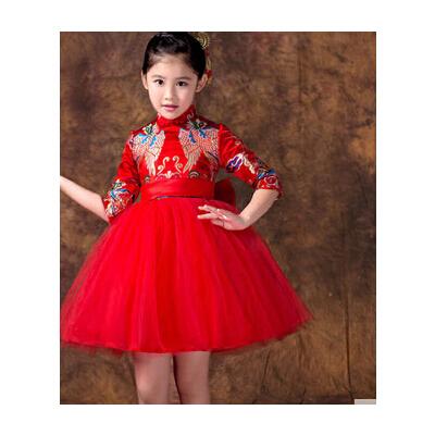新款花童婚纱蓬蓬裙儿童礼服裙长袖 女童公主裙钢琴演出服旗袍_旗袍b