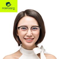 海豚韩版复古眼镜框女圆形平光镜半框眼镜架男款眼睛配近视眼镜潮