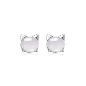 芭法娜 小猫银镶天然粉水晶耳钉 简约时尚 甜美可爱 电镀白金  防过敏