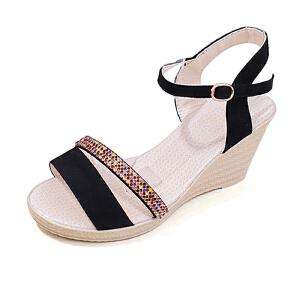 2017夏季新款韩版女鞋高跟坡跟防水台凉鞋水钻厚底搭扣女鞋子ZR-699