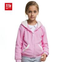 季季乐女童外套冬季保暖加厚加绒拉链上衣GQW51019