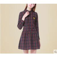 木耳边立领时尚甜美长袖格子衬衫裙连衣裙英伦学院风少女学生短裙