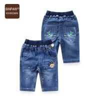 【200-100】binpaw男童牛仔中裤夏点点儿童五分裤运动休闲儿童牛仔短裤