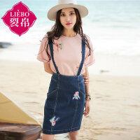 裂帛女装2017夏装新款贴布刺绣拉链背带短裙拼接牛仔半身裙女