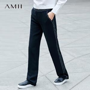 Amii[极简主义]2017春通勤撞色明线装饰直筒雪纺休闲长裤11790271