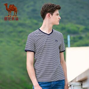 骆驼男装 2017年夏季新款V领绣标修身微弹休闲男青年短袖T恤衫