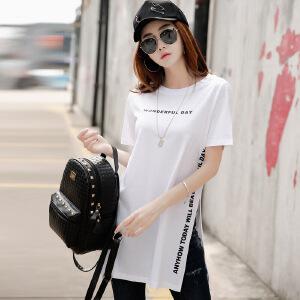 2017夏季女装上衣韩版修身中长款棉质体恤短袖女t恤半袖打底衫潮