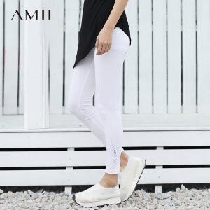 【预售】Amii2017春亲子装橡筋腰修身手写体印花打底裤11781469