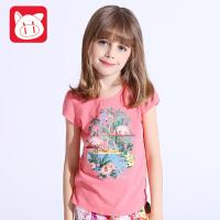 小猪班纳女童体恤短袖中大童卡通上衣儿童短袖t恤女夏季2017新款