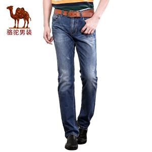 骆驼&熊猫 联名系列男装时尚青年流行合体直筒中腰牛仔裤长裤子男