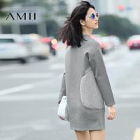 【AMII超级大牌日】女装秋装2017新款潮拼接宽松大码长袖连衣裙短裙