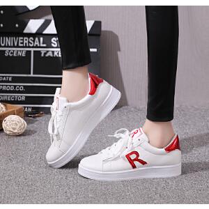 韩版时尚板鞋潮鞋女厚底女单鞋乐福鞋低帮透气休闲鞋小白鞋撞色学生鞋