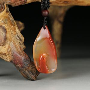 寿山巧色桃花水洞高山石 精雕坐禅入定挂件p2065