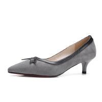 ELEISE美国艾蕾莎春季上新002-X96韩版磨砂羊皮反绒皮中高跟粗跟尖头女士单鞋