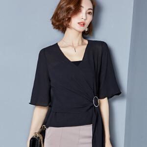 【当当年中庆】2017夏装新款纯色马尾雪纺衫