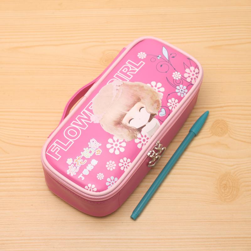 花花姑娘韩国可爱笔盒简约文具袋手提书包铅笔袋 女孩文具袋_粉色