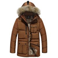 战地吉普AFS JEEP2014秋冬季新款拼接中长款真毛领男士羽绒服