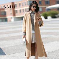 【AMII超级大牌日】[极简主义]2016女冬新纯色翻领长款羊毛双面毛呢大衣11642304