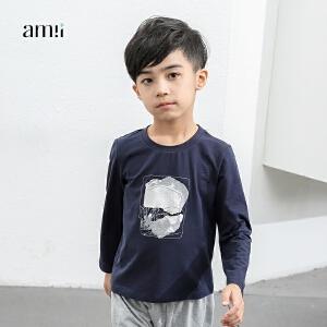 amii童装2017春新款男童时尚印花长袖T恤上衣儿童中大童打底衫