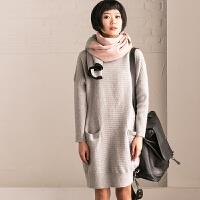 Z551A 通勤韩版坑条圆领羊毛加厚套头中长款针织衫女【米可可】