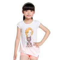 5.25抢购价:39元 巴拉巴拉童装女童中大童漂白色可爱猫女短袖T恤