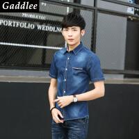 gaddlee男装2017春装新款薄牛仔衬衫外套夏季短袖休闲上衣潮