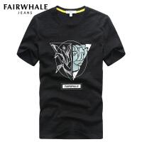 马克华菲短袖T恤男士圆领夏季简约修身潮流创意印花半袖打底衫