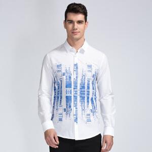 才子男装(TRIES)长袖衬衫 男士2017新款棉质创意图案拼色修身版休闲长袖衬衫