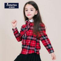 芙瑞诺童装春新款女童长袖衬衫学院风英伦格子纯棉长袖T恤打底衫上衣