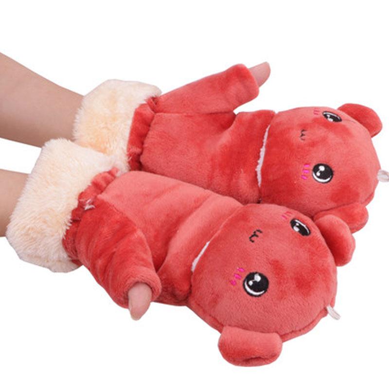 手套女冬季卡通太阳花可爱卡通猫爪手套男女厚手套_深红色-小熊手套