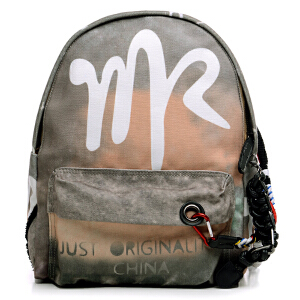 milkroses 品牌原创炫酷印花帆布双肩背包中款