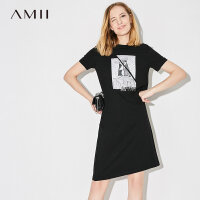Amii[极简主义]2017夏新品休闲气质印花画T恤裙连衣裙11762264