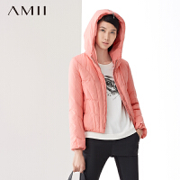 【AMII超级大牌日】[极简主义]冬新品拉链连帽短款大码时尚轻暖羽绒服外套11470566