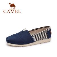 Camel/骆驼女鞋 年春夏新款 条纹拼色平底帆布鞋简约套脚单鞋