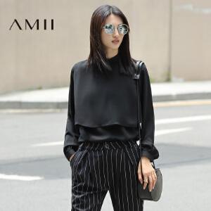 【AMII超级大牌日】2017年春新纯色雪纺立领长袖假两件通勤衬衫11692584