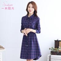 一米阳光 2017春装新款韩版格子衬衫裙女中长款