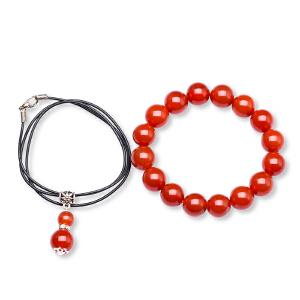 芭法娜 红火 天然红玛瑙首饰套装 吊坠+手链