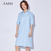 Amii[极简主义]2017夏装新款大码休闲翻领排扣露肩连衣裙11742877