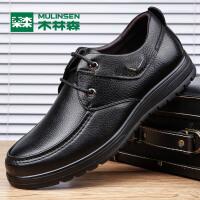 木林森男鞋 秋季男士商务休闲皮鞋 时尚低帮系带男皮鞋05367104