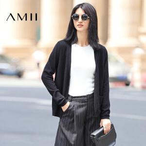 【AMII超级大牌日】[极简主义] 2017年春新品修身纯色V领空调开衫毛针织衫11642879