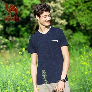 骆驼男装花纱上衣 2017夏季新款时尚青年休闲修身V领短袖T恤衫男