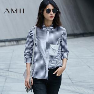 Amii[极简主义]2017春新大码通勤竖条纹撞色印花长袖衬衫11740201