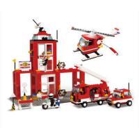 小鲁班积木城市模拟拼装玩具紧急消防局模型儿童男孩益智玩具